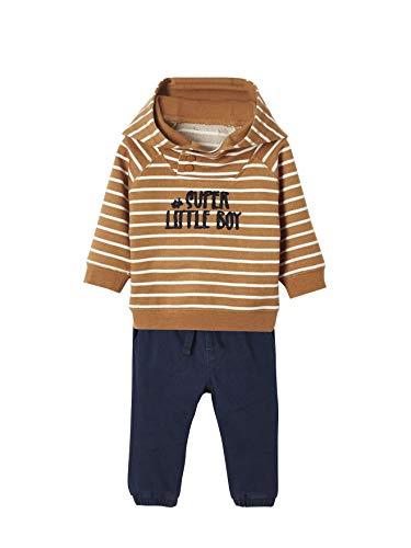 Vertbaudet Sweatshirt und Thermohose, Baby Jungen karamell gestreift+Marine 80