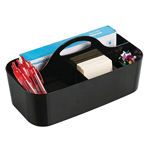 mDesign Plastic Office Storage Organizer Caddy Tote with Handle for Cabinet, Countertop, Desk, Workspace - Holds Erasable Pens, Colored Pencils, Washi Tape, Notebook - Large - Black