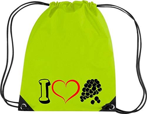 Camiseta stown Premium gymsac Frutas I Love Vino uva Uvas, verde lima