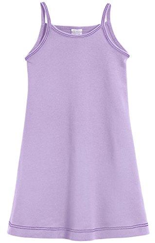 City Threads Big Girls' Summer Dress Cami Camisole Spaghetti Strap Maxi Slip No Sleeve Dress For Sensitive Skin or SPD Sensory Friendly, Lavender w/ Purple Stitch, 14