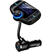 Bluetooth FM Transmitter for Car, Quick Charge 3.0 Wireless Radio Adapter, Hands-Free Car Kit with Music Player and 2 USB Ports