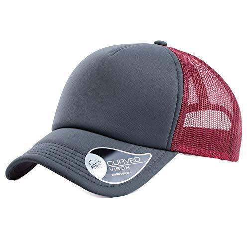 Atlantis Sonnenhut Unisex Baseball Cap Sommermütze Truckercap Outdoor Sport Mütze Grau-Rot
