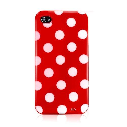 AIO - Custodia in Gel con Pellicola Proteggi Schermo per Apple iPhone 4S, Motivo a Pois, Colore: Rosso