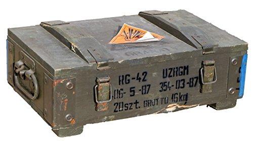 kleine Munitionskiste RG-42 Wandstärke über 1 cm Maße Maße ca 48x31x16cm Innenmaße 44x25x10cm Aufbewahrung Militärkiste Munitionsbox Holzkiste Holzbox Weinkiste