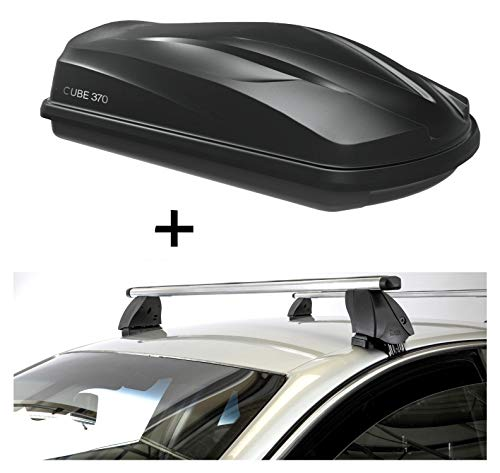 VDP Dachbox CUBE370 370 Liter schwarz + Dachträger K1 PRO Aluminium kompatibel mit BMW Serie 5 (F11) Touring (5Türer) 10-13