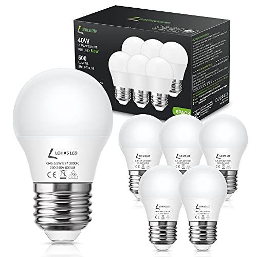 Lampadine LED E27, LOHAS Lampadina G45 5.5W (Equivalenti a 40W) Luce Bianca Calda 3000k, con 500LM per Illuminazione Domestica, Non Dimmerabile, Pacco da 6