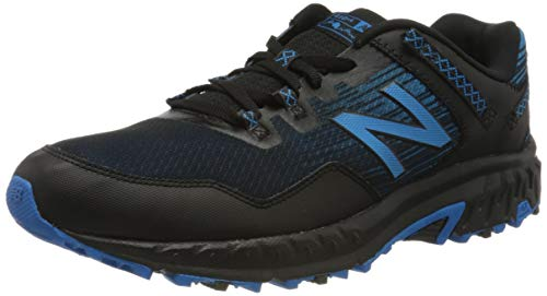 New Balance Men's 410 V6 Trail Running Shoe, Black/Blue, 15 XW US