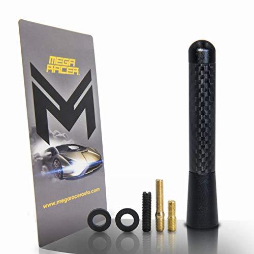 "1 x Polished Black 3.25"" in / 83 mm 100% Carbon Fiber Screw Type Short Aluminum Antenna Replace Sport Auto Car SUV AM/FM"