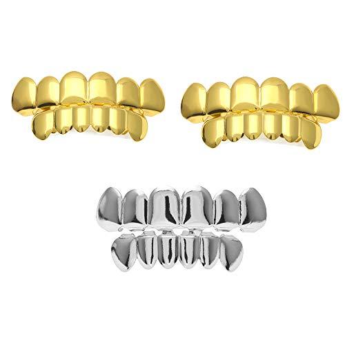 Aparatos ortopédicos dorados plateados, dientes en la parte superior para el juego de rol de vampiro de la bola Parte superior inferior Hip Hop Dientes Parrillas para boca de dientes,Gold+Gold