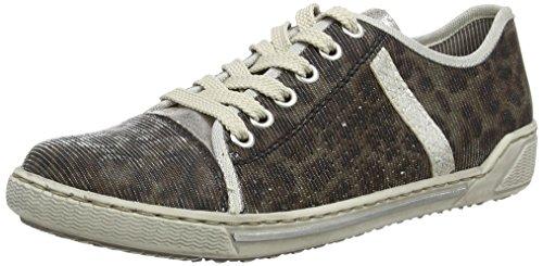 Rieker Damen 42417 Women Low-Top Sneaker, Silber (leo-natur/silber/ice / 91), 38 EU
