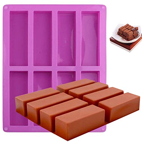 MANYEE Candy Chocolate Molds 8 Cavity Silicone Rectangle Molds Silicone Protein Bars Molds Narrow Rectangle Bars Silicone Mold for Chocolate Butter Candy Soap Granola Bars Cereal Bar