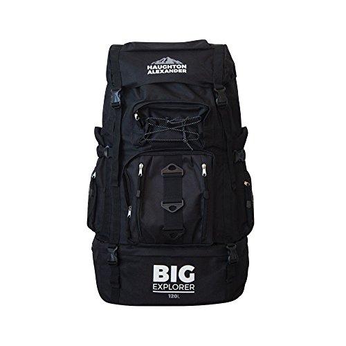 Haughton Alexander - Mochila de senderismo y acampada, 120 L, extra grande, para festivales, viajes, equipaje, color negro, tamaño XX-Large 120L