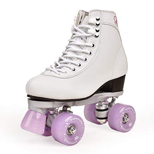 bingxin Adult Double-Row Roller Skates Four-Wheel Skates Adult Men and Women Outdoor Skates Shoes 6.5 Lavender