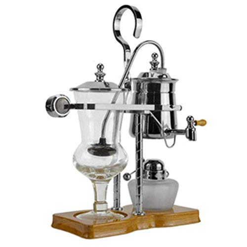 Coffee machine SKTY Siphon Coffee Maker, Belgium Royal Balancing Coffee Maker, espresso syphon, Suitable for Cafes And Family,espresso pot, Gold Traditional espresso machine (Color : Silver)
