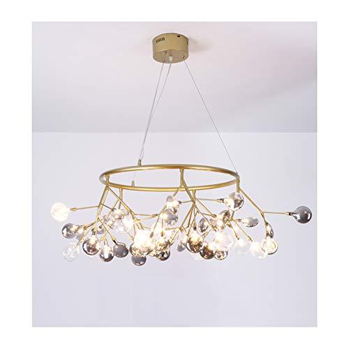 KKOF - Lámpara de araña LED, diseño nórdico, color negro