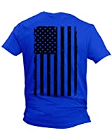 Distressed Black USA Flag - United States Men's T-Shirt (Royal - Back Print, Large)