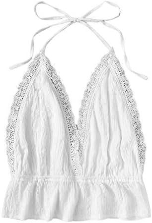 SweatyRocks Women s Deep V Neck Halter Crop Cami Top Sleeveless Vest Medium White product image