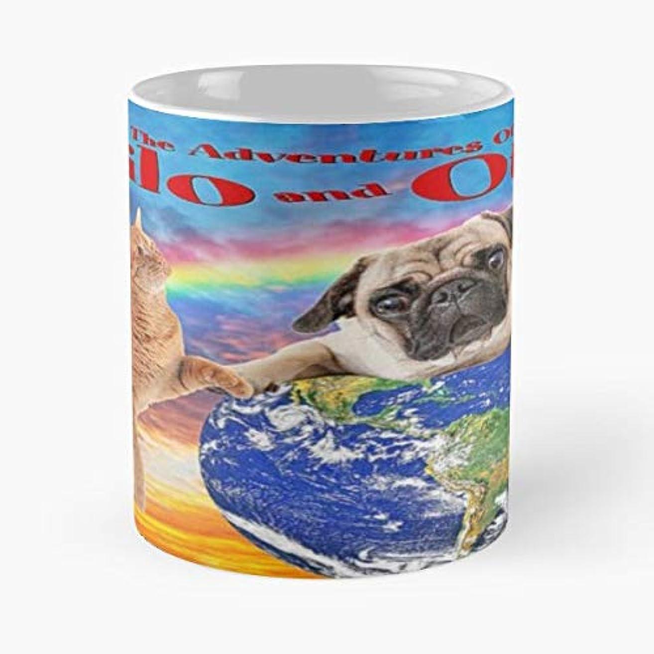 Milo And Otis Pug Dog Cat Coffee Mugs Unique Ceramic Novelty Cup