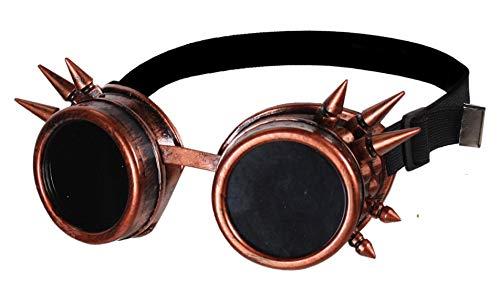narrenkiste T1878-3000 Kupfer-bruniert mit Stacheln Fliegerbrille Steampunkbrille