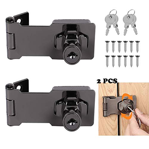 Cerradura de seguridad para puerta de armario con llave, 2 unidades, de metal, color negro, con llave y tornillos para ventanas, cajones y armarios