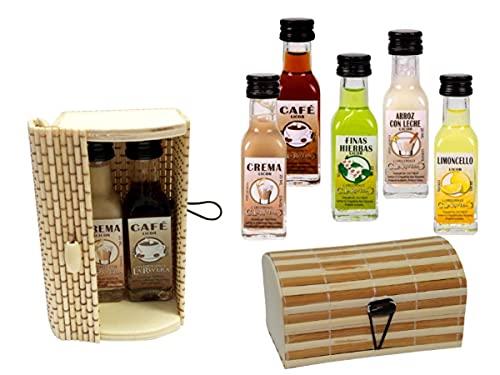 Lote de 12 Cajas de Mimbre-Bambú Rectangulares con 2 Botellas de Licores La Rivera (A ELEGIR). Regalos Originales. Detalles de Bodas, Bautizos, Comuniones y Eventos. (SURTIDOS)