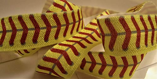 Fold Over Elastic - Yellow Elastic Softball Print with Red Stitching - 10 Yards, 5/8 Inch Wide - for DIY Headbands, Wristbands, or Hair Ties!
