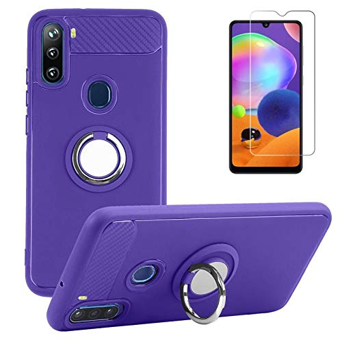 BLU G90 Case with Screen Protector, Rotating Ring [Magnetic Car Mount] [360°Kickstand] Holder [Fashion] Soft TPU Protection Cover Case for BLU G90 (Purple)
