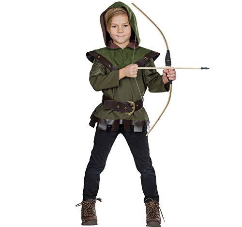 Costume per Bambini Robin Hood - King of Thieves, Costume da Eroe Carnevale Verde (164)