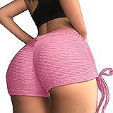 Women Yoga Shorts, Ruched Booty Shorts, Sports Butt Scrunch Push Up Short Silk Slim Gym Workout Yoga Hot Pants for Women
