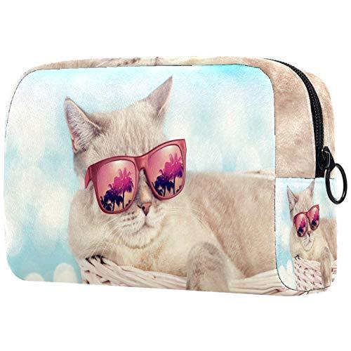 Maquillaje Cosmético Bolso Monedero para Mujer, Moderno y Espacioso Bolso de Mano Gato con Gafas de Sol Relajante