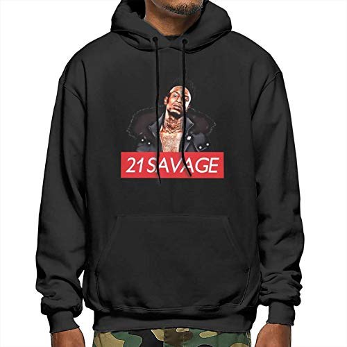 Youth Men Autumn Quick-Dry Soft Hooded Tracksuit for Running 21-Savage Box Logo 3D Print Realistic Graphic Pullover Hoodies Clothing - Large Black