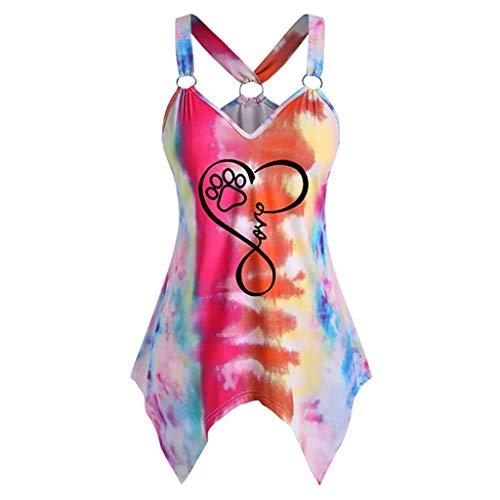 AFFGEQA Frauen Plus Size Mode V-Ausschnitt O-Ring Tie-Dye Taschentuch Tank Top Bluse