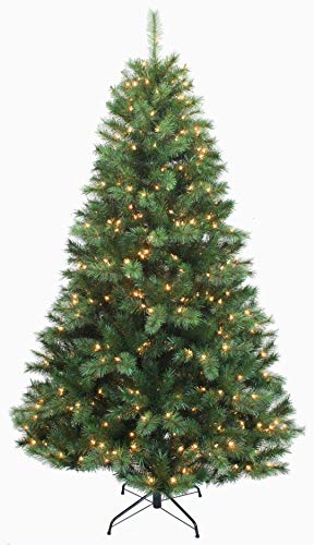 AMERIQUE 8' Eight-Function Multicolored and Warm White Pre-Lit Premium Artificial Green Christmas Tree with Metal Stand, Hinged Construction