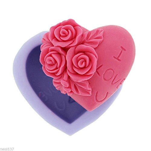 La Caverne du Cake - Moule Silicone 3D Cœur Roses I LOVE YOU Gâteaux Chocolat Porcelaine Fimo Bougie
