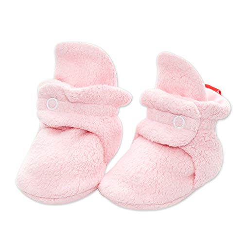 Zutano Cozie Fleece Baby Booties, Unisex Baby Shoes for Infants and Toddlers, 3M, Baby Pink