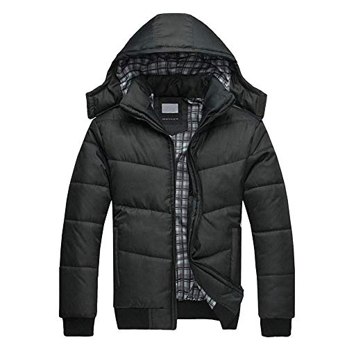 Seaintheson Men's Down Jacket,Black Puffer Jacket Warm Overcoat Outwear Padded Hooded Down Winter Coat Slim Fit Zipper Sweatshirt