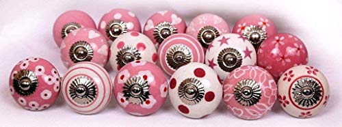 Set of 6 Knobs Pink & White Hand Painted Ceramic Knobs Cabinet Drawer Pull