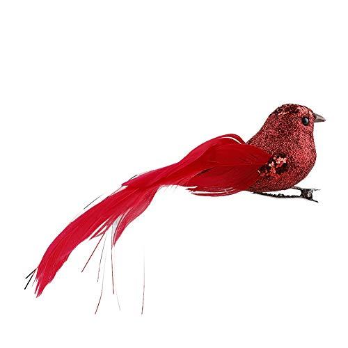 Jourad Künstliche Vögel Clip, 12 Stück Künstliche Simulation Schaum Vogel Rote Vögel Dekoration mit Metallclip, Vögel Clip für Weihnachtsbaum Ornament Dekorationen, Kunsthandwerk