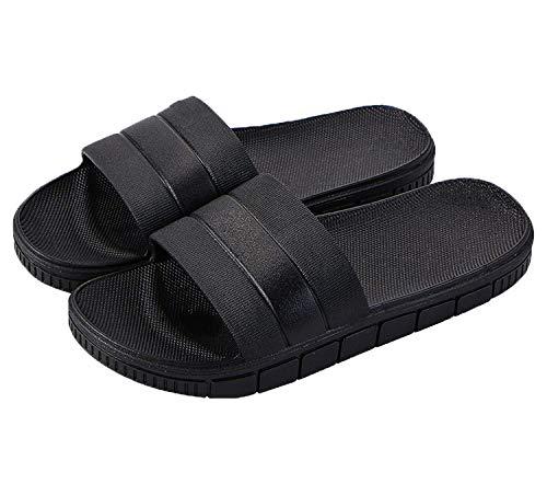 clootess Womens Men Home Shoes Shower Slipper Indoor Sandal Bath Slides Soft Non-Slip Quick Drying Bathroom Pool Gym Black 44.45