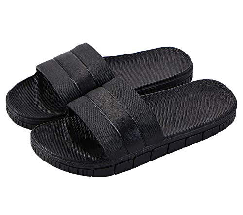 clootess Womens Men Home Shoes Shower Slipper Indoor Sandal Bath Slides Soft Non-Slip Quick Drying Bathroom Pool Gym Black 44.45