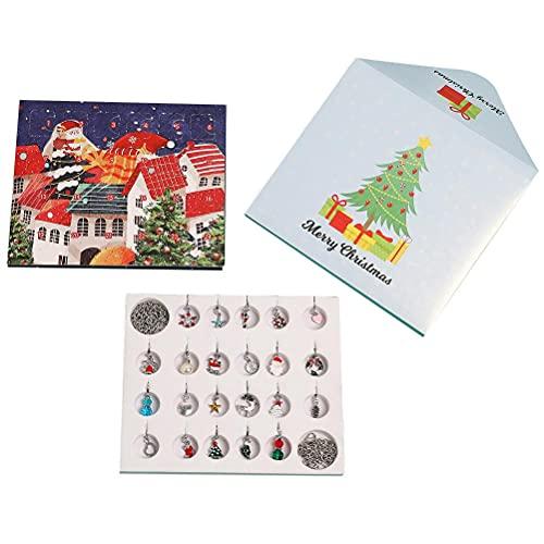 Guanan - Calendario dell'Avvento 2021, calendario 24 giorni, calendario dell'Avvento con 22 ciondoli fai da te, 1 collana, 1 bracciale, 1 confezione regalo, regali di Natale per bambini e Aldult
