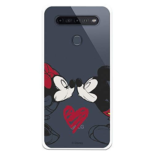 Funda para Huawei P40 Lite 5G Oficial de Clásicos Disney Mickey y Minnie Beso para Proteger tu móvil. Carcasa para Huawei de Silicona Flexible con Licencia Oficial de Disney.