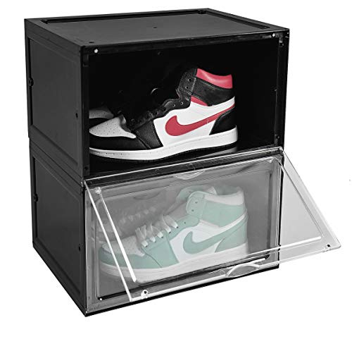 BYFU 2 Pack Shoe Storage Box Side Open Magnetic 145x11x87 Inches Plastic Stackable Sneaker Box Organizer Shoe Container for Men Women Shoe Black