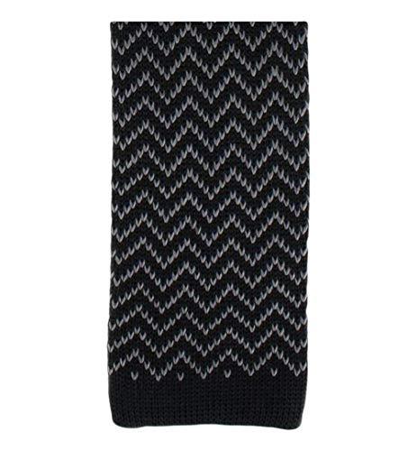 Michelsons of London Noir/Charbon Zig Zag soie tricoté Skinny cravate de