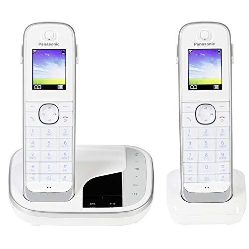 Panasonic KX-TGJ322GW Familien-Telefon mit Anrufbeantworter/ Duo Telefon mit Mobilteil, schnurloses Telefon, strahlungsarm, Schwarz/Weiss