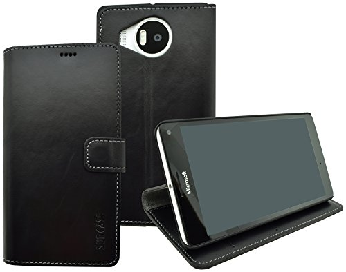 Suncase Book-Style (Slim-Fit) für Microsoft Lumia 950 XL Ledertasche Leder Tasche Handytasche Schutzhülle Hülle Hülle (mit Standfunktion & Kartenfach) schwarz