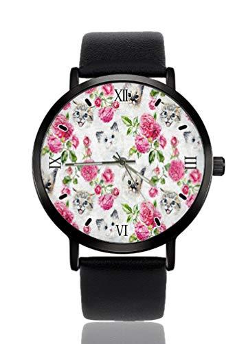 Reloj de pulsera para mujer con diseño de gato y rosa con diseño de flor ultrafino, extremadamente...