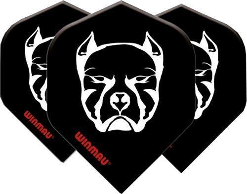 WINMAU Mega Standard Schwarz-Weiß-Teufelshundepfeilflüge - 1 Satz pro Packung (insgesamt 3 Flüge)