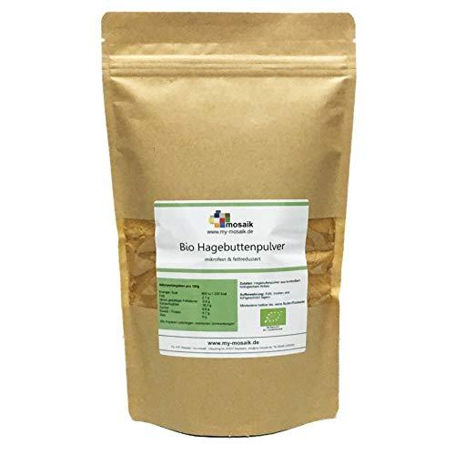 my-mosaik Bio Hagebuttenpulver in Rohkost-Qualität - Hagebuttenfrüchte gemahlen, ohne Zusätze, naturrein, glutenfrei (500)