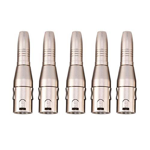 Conector XLR portátil ligero de 3 pines Conector macho Xlr para micrófono de audio(5PCS)
